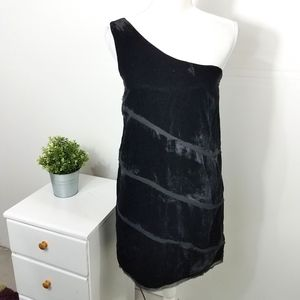 Kensie Black Velvet Tiered One Shoulder Dress 6